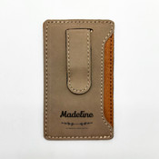 Name Bar Leatherette Mobile Money Clip - Khaki 2