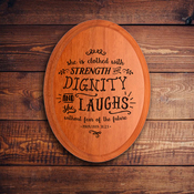 Oval Plaque B 1577 - Proverbs 31:25