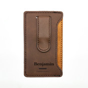 Name Leatherette Mobile Money Clip - Coffee