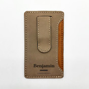 Name Bar Leatherette Mobile Money Clip - Khaki