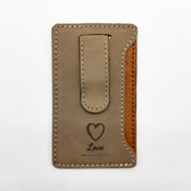 Love - Leatherette Mobile Money Clip - Khaki